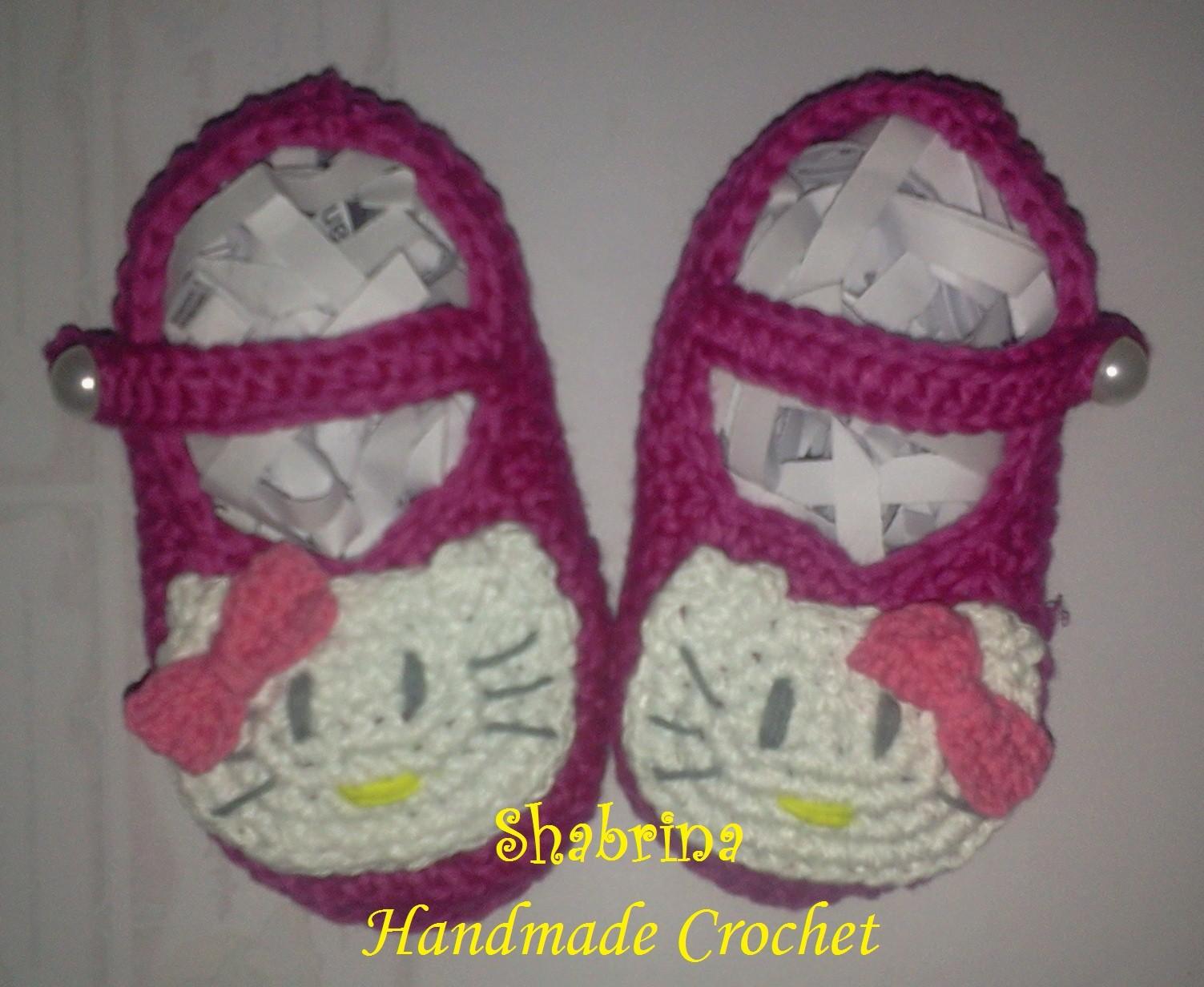 Hello Kitty Baby Shoes beautiful and simple handmade crochet